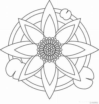 Mandala Coloring Pages Easy Flower Printable Mandalas