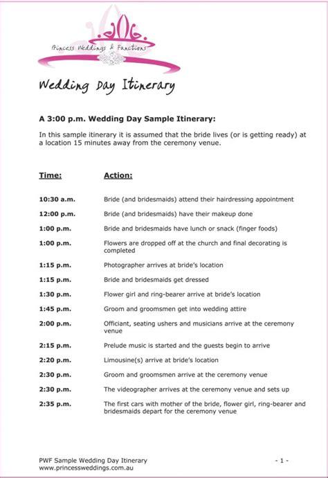 wedding itinerary    wedding