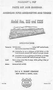 American Flyer Locomotive 335  U0026 K335 Parts List And