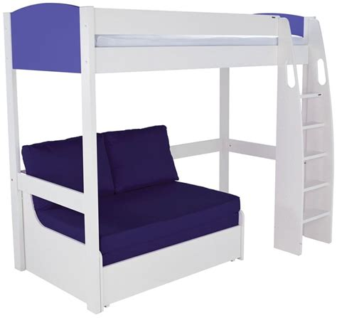 high sleeper with sofa bed buy stompa blue high sleeper frame with blue sofa bed cfs uk