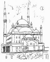 Coloring Mosque Masjid Nabawi Template Printable Getcolorings Sketch Getdrawings sketch template