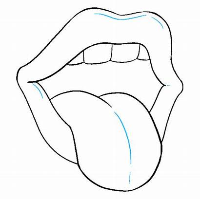 Tongue Mouth Drawing Step Easy Draw Drawings