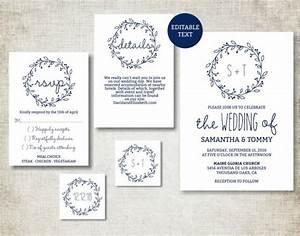 wedding invitation template navy classic wreath wedding With wedding invitation pdf print yourself