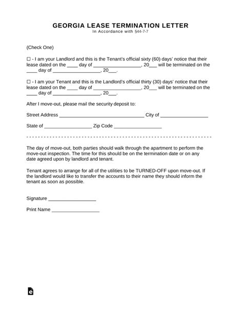 Free Georgia Lease Termination Letter Form  30 Days  Pdf. Template Letter Of Resignation. Tracking Student Progress Template. Sales Invoice Template Excel. Weekly Chore Chart Template. Diabetic Meal Planner Template. Graduate School Washington Dc. Process Flow Diagram Template. Artwork Release Form Template