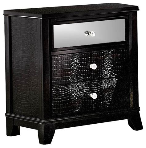 Black Mirrored Nightstand by Homelegance Jacqueline Mirrored Drawer Front Nightstand In