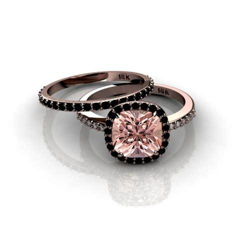 2 00 carat morganite and black diamond halo bridal in 10k rose gold jeenjewels