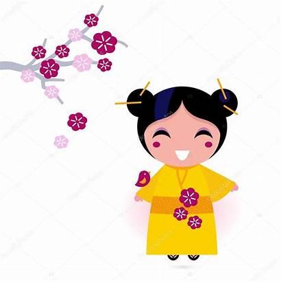 Japanese Kimono Cartoon Clipart Vector Asia Korean
