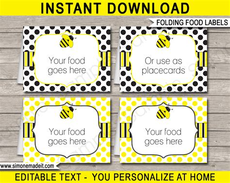 label cuisine bee food labels place cards printable editable