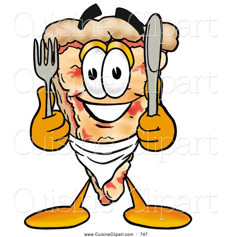 cuisine clipart cuisine clipart of a smiling slice of pizza mascot character holding a knife and fork by