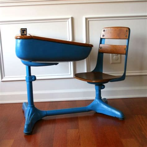 vintage salmon elementary school desk storage and chair