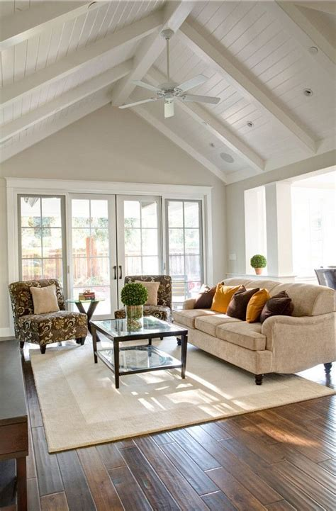 high white wood vaulted ceilings   wall  windows