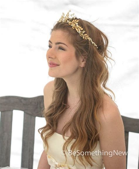 Gold Wedding Crown Woodland Queen Wedding Headpiece Leaves