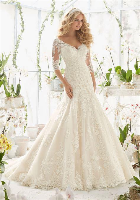 lace wedding dress  appliques  net style