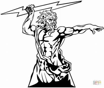 Coloring Zeus God Pages Olympia Drawing Printable