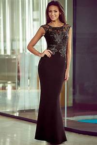 sequin black lace floor length gowns store