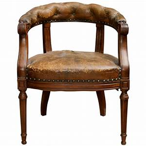 Tufted, Leather, And, Mahogany, Barrel-back, Library, Chair