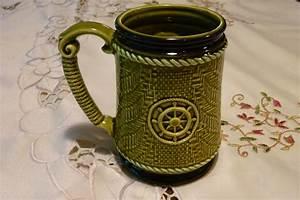 Vintage, Coffee, Mug, -, Lovely, Green, Nautical, Decorated, Mug, -, China, Cup
