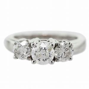 14k white gold diamond 3 stone engagement ring for 3 stone diamond wedding rings