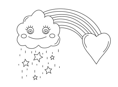 rainbow  cloud coloring pages animationsaz