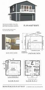 Garage with apartment balcony plan 1107 1bapt 2439 x 24 for Garage apartment plans with balcony