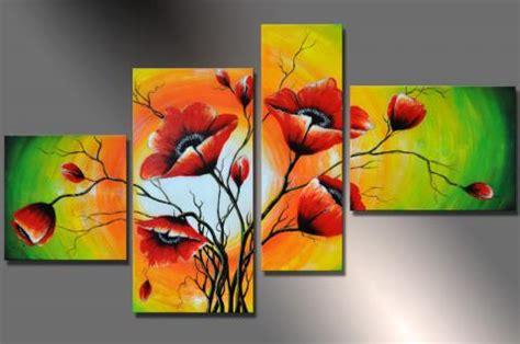 gemalte bilder auf leinwand designbild mohn blumen bunt m7 handgemalt bild auf leinwand 120 x 70 bild acryl wandbild