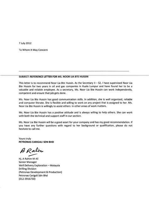 reference letter  general manager pcsb