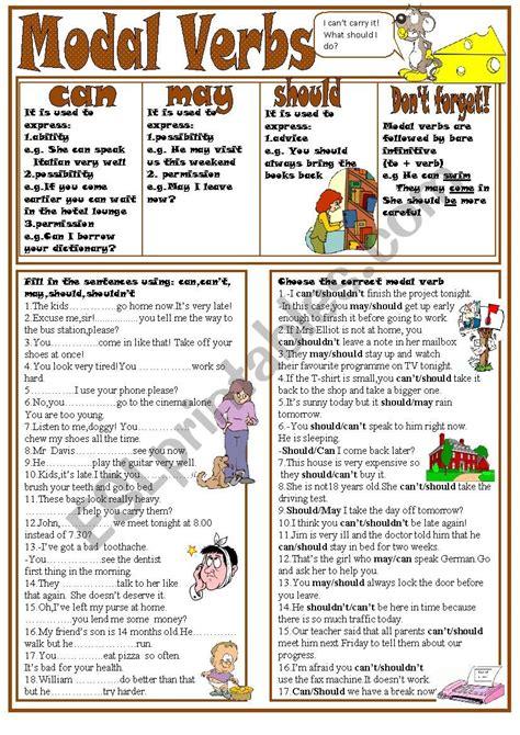 modal verbs can may should esl worksheet by kodora