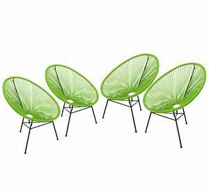 Salon De Jardin Acapulco : lot 4 fauteuils acapulco vert 369 salon d 39 t ~ Teatrodelosmanantiales.com Idées de Décoration