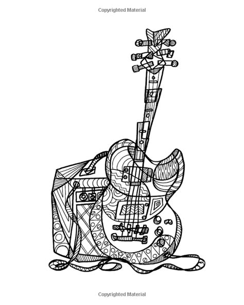 Guitar : Adult Coloring Escapes Coloring Books for Adults