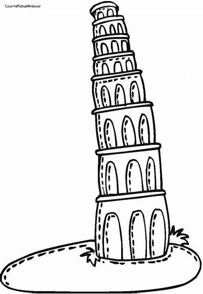 Pisa Tower Leaning Drawing Cartoon Coloring Pages