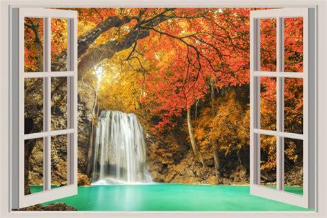 open window  waterfall views wall mural pixers