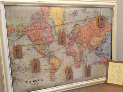 Vintage World Map Wedding Seating Plan #2545703