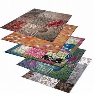 Großer Runder Teppich : gro er design patchwork teppich 160x230 cm l ufer teppiche bunt farbwahl ebay ~ Markanthonyermac.com Haus und Dekorationen
