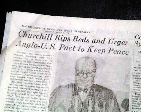 Winston Churchill Iron Curtain Speech Fulton Mo Missouri 1946 Old Newspaper Custom Cafe Curtains Valance For Curtain Wire Rod Longhorn Shower Western Cross Cheap Finials Rods Steel Pittsburgh Steelers Cat And Dog