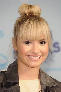 Demi Lovato Sock Bun With Bangs | Hair | Pinterest | Buns ...