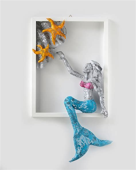 wall decor metal wall nuntchi wire mesh sculptures Mermaid
