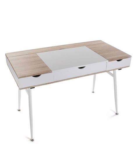 bureau bois et blanc bureau design bois et métal blanc avec multiples rangements