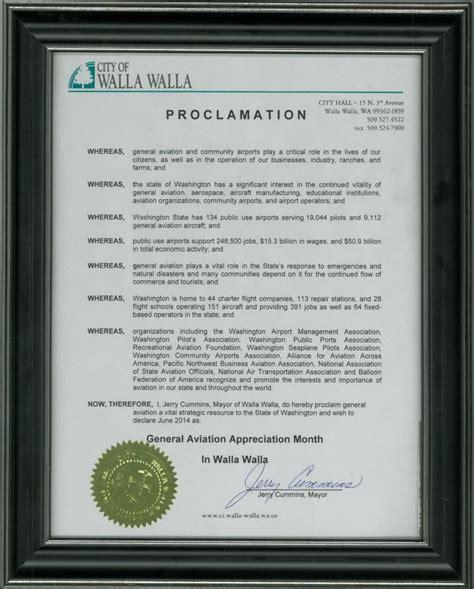 city  walla walla designates june  general aviation