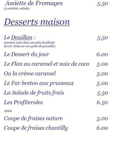 carte des desserts du restaurant les embruns ile aux