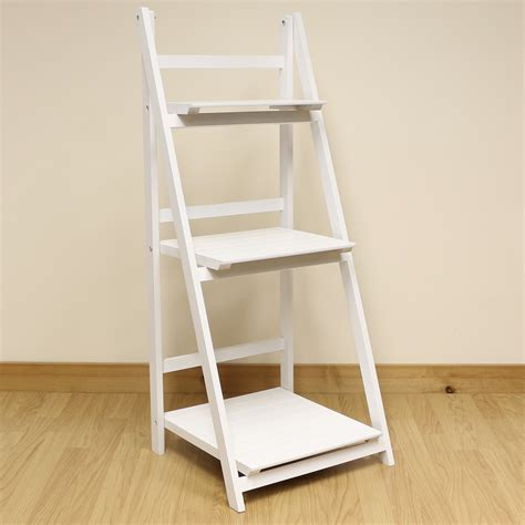 tier white ladder shelf display unit  standing