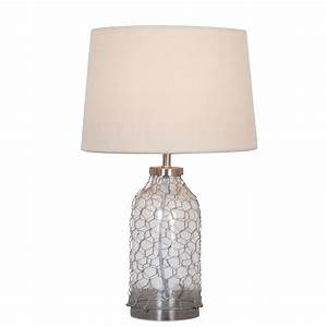 Pair Of Glass And Galvanised Wire Table Lamp With Cream