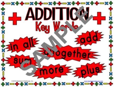 math key words  addition subtraction multiplication