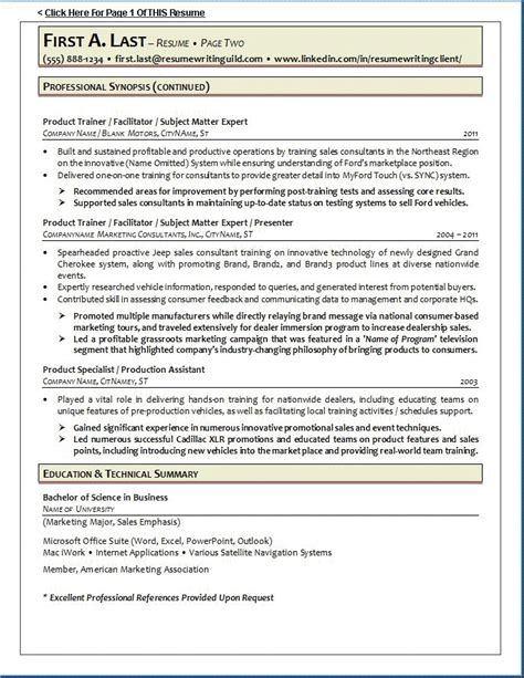 resume writing guild resume exle 1 page 2