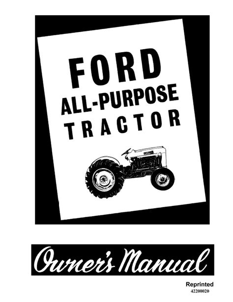 ford   cyl  purpose tractor   owners