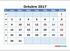 2017 octubre calendario 2019 2018 Calendar Printable