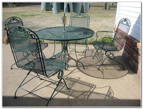 wrought iron patio furniture set bright colorful
