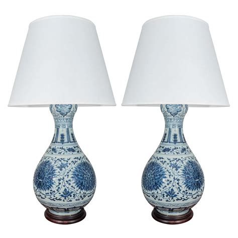 pair of large blue and white porcelain gourd shaped ls