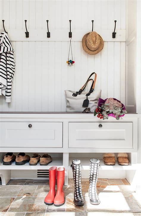 mudroom bench shoe shelf transitional laundry room