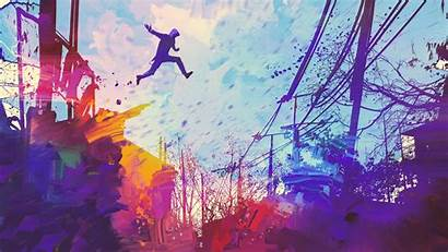 4k Illustration Abstract Painting Jumping Roof Wallpapers