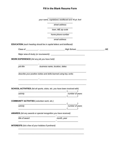 Free Resume Maker And Print by Free Easy Fill In Resume Resume Exle